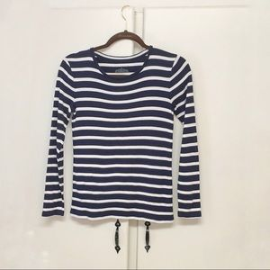 Ann Taylor Blue & White Striped Tee Size Small